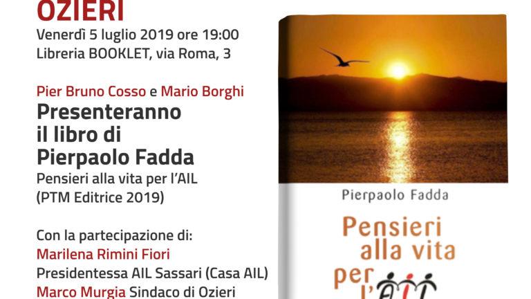 """A Ozieri, presentazione del libro """"Pensieri alla vita per l'AIL"""" di Pierpaolo Fadda"""