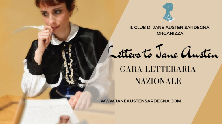 """IL CLUB DI JANE AUSTEN SARDEGNA ORGANIZZA LA PRIMA EDIZIONE DELLA GARA LETTERARIA NAZIONALE """"LETTERS TO JANE AUSTEN"""""""